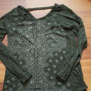 Beaded olive green sweater
